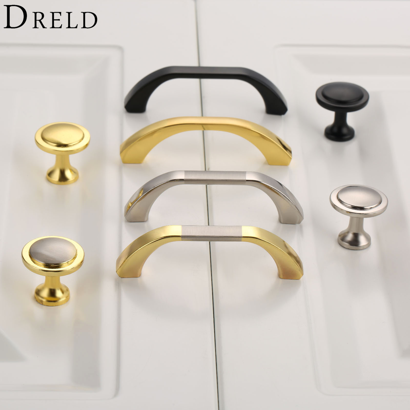DRELD Furniture Handle Cabinet Knobs and Handles Kitchen Wardrobe Door Pull Handle Furniture Hardware tiradores para cajones high grade crystal handles wardrobe door cabinet knobs furniture closet drawer hardware small modern kitchen pull and handle