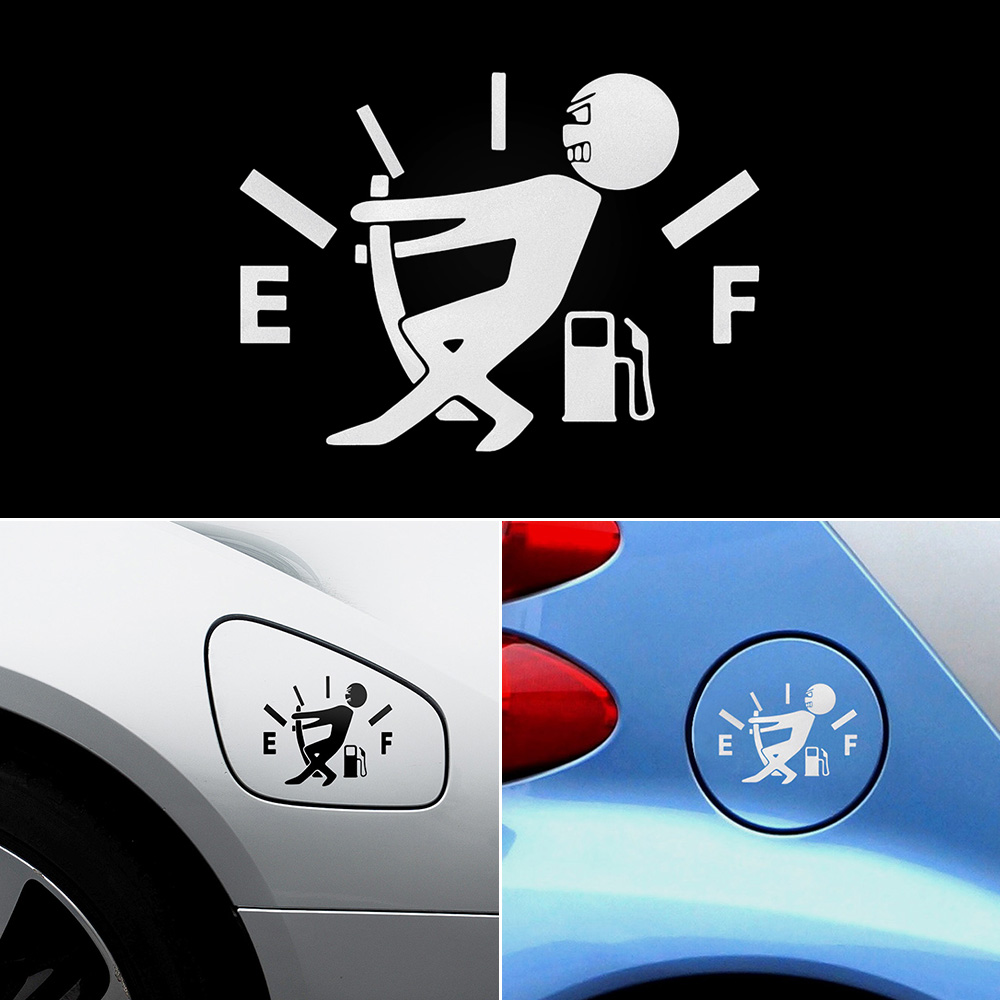 ISINWHEEL 1 Pcs Funny Pull Fuel Tank Pointer Full Hellaflush Reflective Car Sticker