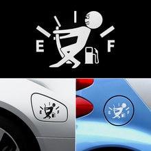 Autocollant de voiture drôle, tirer le pointeur du réservoir de carburant à plein lumineux réfléchissant vinyle autocollant de voiture vente en gros 1 pièces