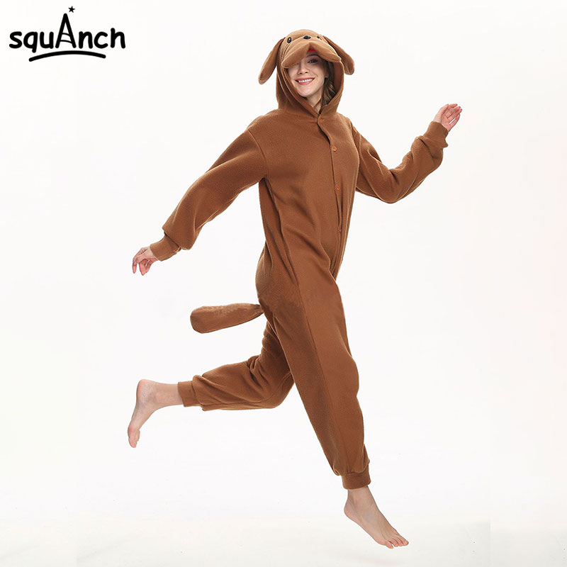 bad8558736345 Poodle Kigurumi Adult Women Couple Onesie Animal Brown Dog Cartoon Costume  One Piece Polar Fleece Carnival Party Pajama Suit