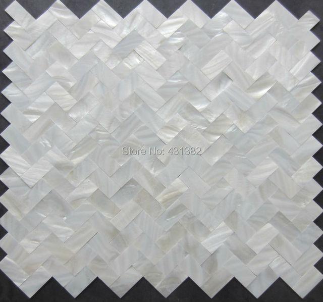 Azulejos mosaicos casa; espina de pescado blanco Madre de la perla ...