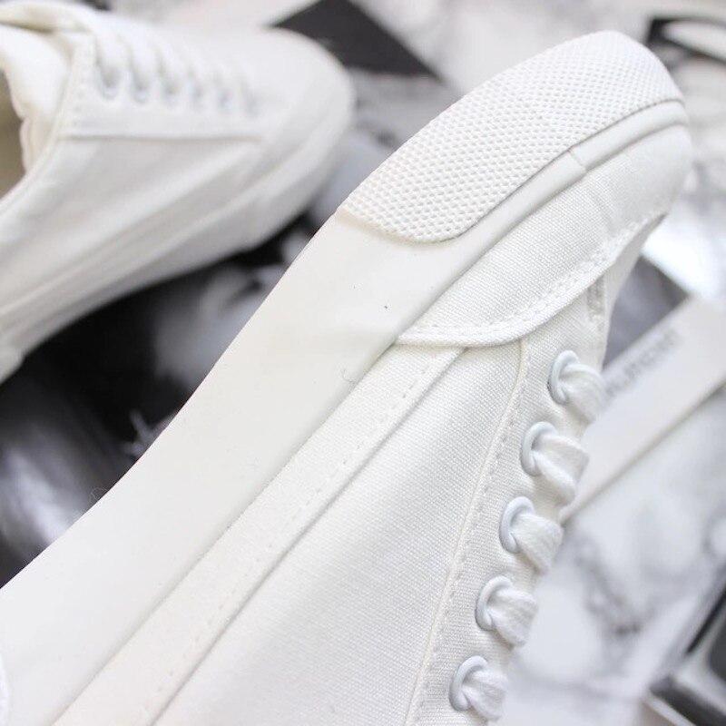 9b65eeda9 M. Mulheres Sapatos de Lona Branca Femininos Sapatos Pretos GERAL Durante  Todo o Jogo Cor sólida Casual Sneakers Lace Up Estilo Fresco Tamanho Plana  35 40 ...