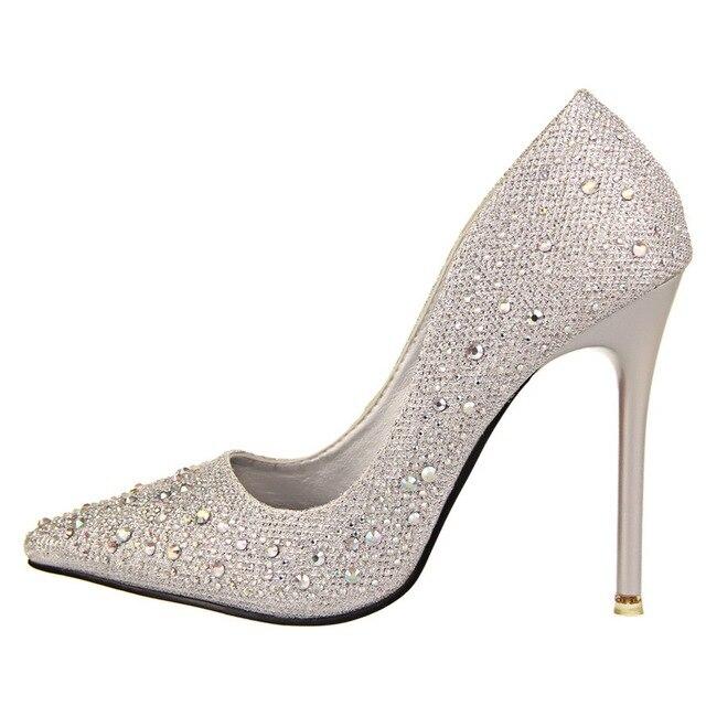 2016 New Fashion Sexy Women Silver Rhinestone Wedding Shoes Platform Pumps Red Bottom High Heels Crystal Shoes Gold Black Pink