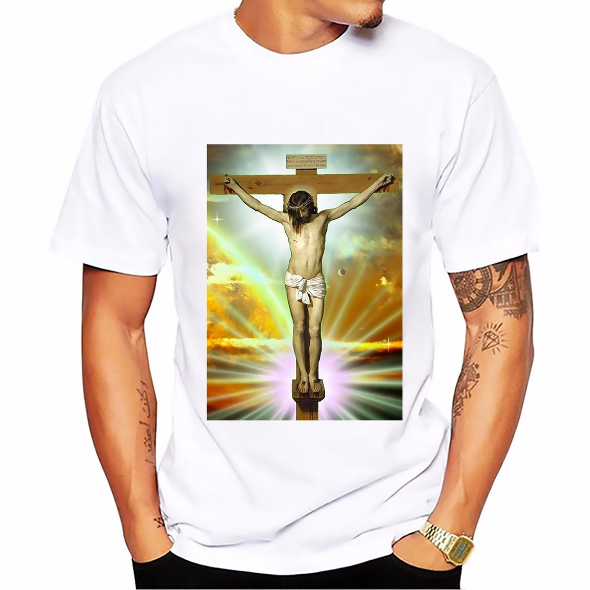 SKAM Iska Even same paragraph Jesus crucifixion tshirt MEN soft Breathable cool t shirt homme Short Sleeve Plus Size T-shirt