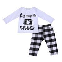 chinatera 2pcs/Set Baby Boys Gils Clothing Sets Printed Long Sleeve Top+White-Black Plaid Long Pants Kids Clothes Outfits Set