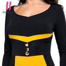 Patchwork Bodycon Pencil Dress with Long Sleeves