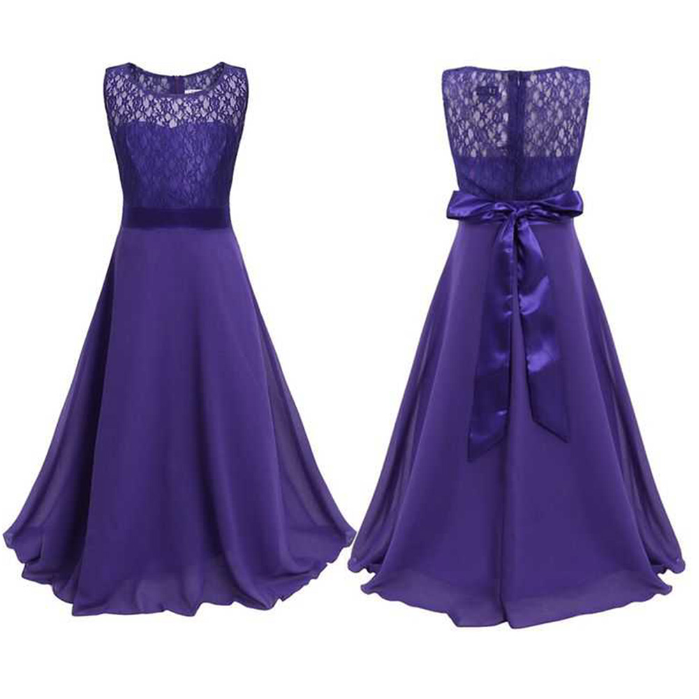 New Solid Purple Teenager Summer Dresses Kids Children Girls ...