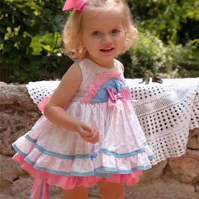 2PCS 1 7Y BaBy Girls Vintage Spanish Pompom Gown Dress Lace Lolita Dress Princess Dress for