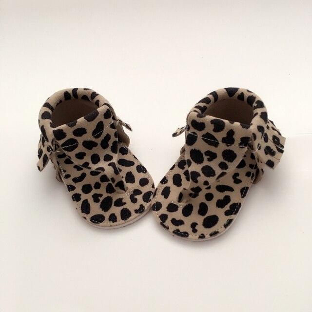 Ручной работы Leopard Детские Первые Ходунки Натуральная Кожа Детская обувь