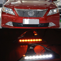 Cscsnl For Toyota Camry 2011 2012 2013 2014 LED Daytime Running Light ABS Fog Lamp Cover With Yellow Turnning Signal Lamp