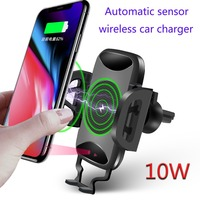 2018 New Qi Automatic Wireless Car Charger For iPhone X 8 Plus Flash Infrared Sensor Wireless Auto Open Car Holder 10W