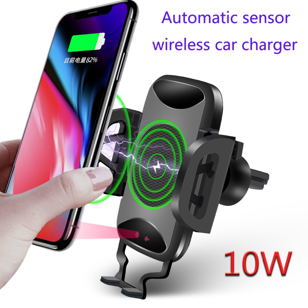 2018 nouveau chargeur de voiture sans fil automatique Qi pour iPhone X 8 Plus capteur infrarouge Flash sans fil Auto ouvert support pour voiture 10 W