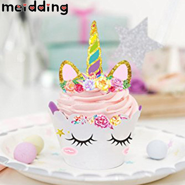 MEIDDING 24Pcs Unicorn Rainbow Cake Toppers Cupcake Wrappers