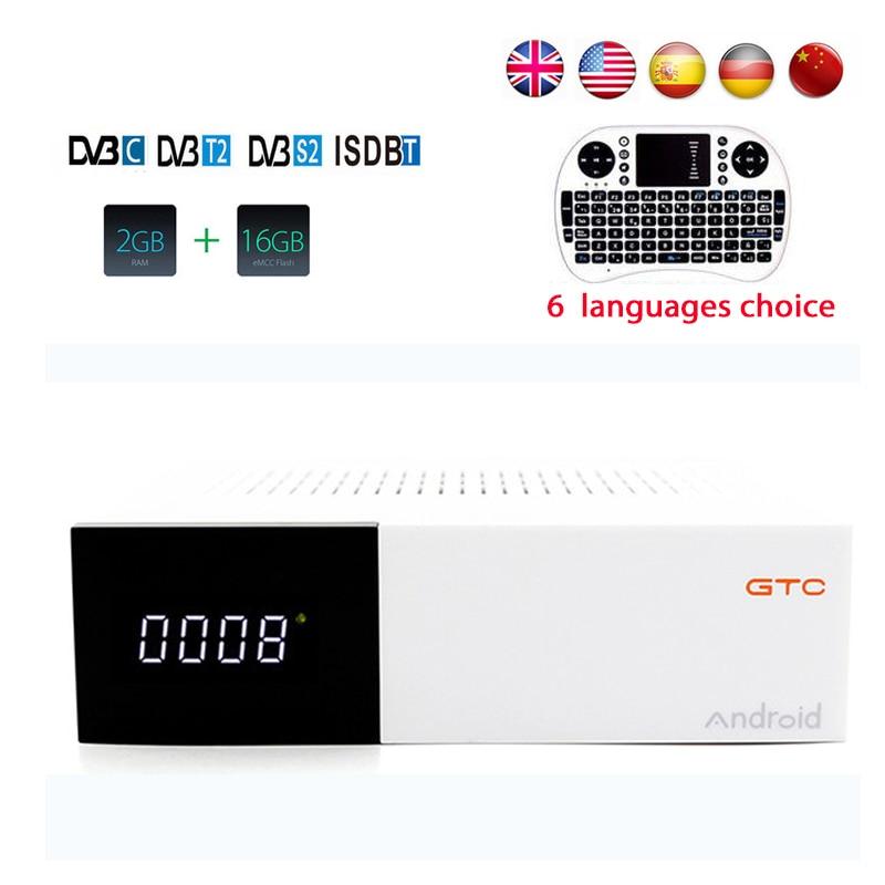 DMYCO GTC dvb-t2&dvb s2/C ISDBT satellite receiver Android 6.0 Amlogic S905D 2gb ram 16gb rom Wifi 2.4G H.265 4k smart tv box d202 android dvb t2 tv receiver