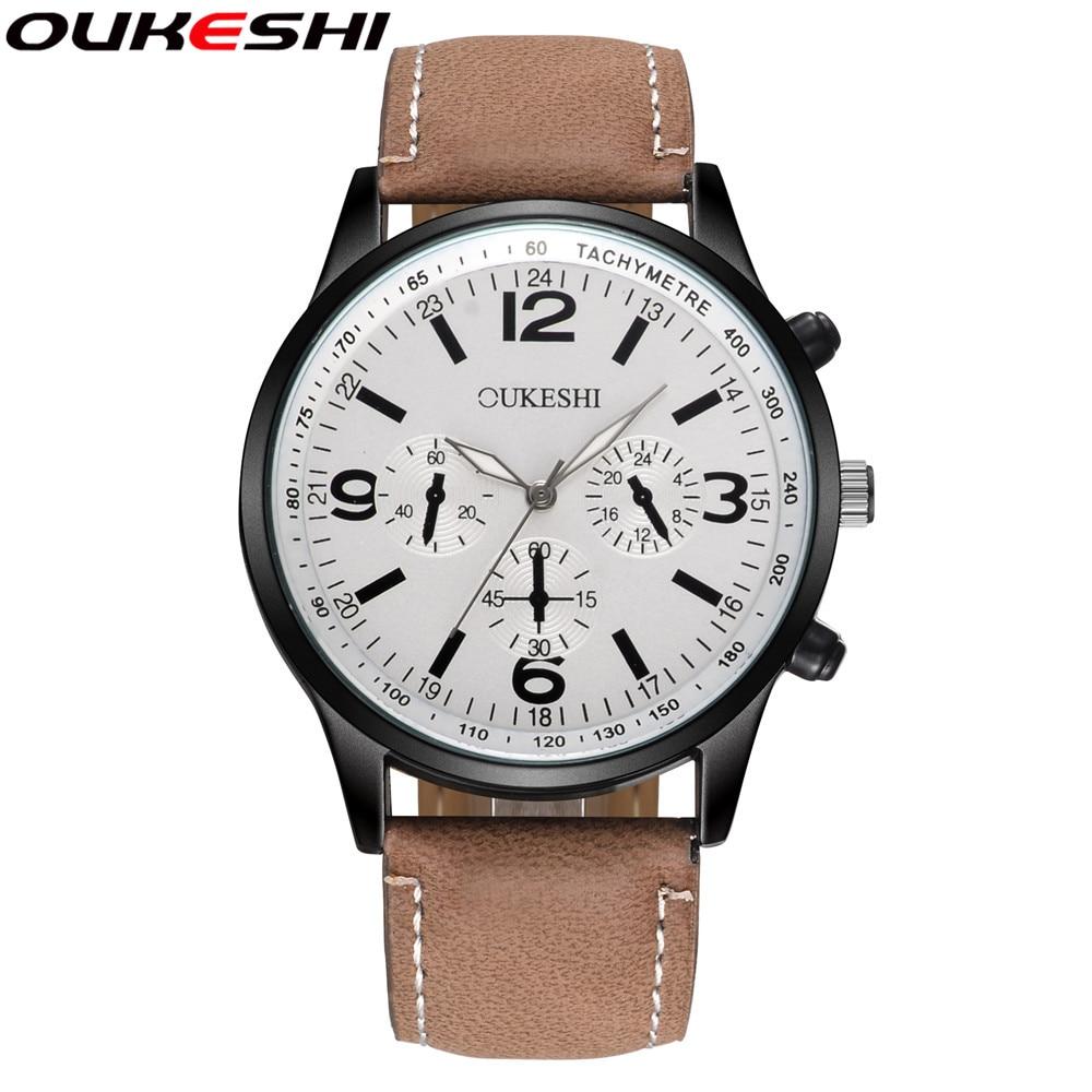 OUKESHI Brand Fashion Outdoor Sports Watch Men Casual Quartz Watch Waterproof Leather Strap Wrist Watch Relogio Masculino OKS10