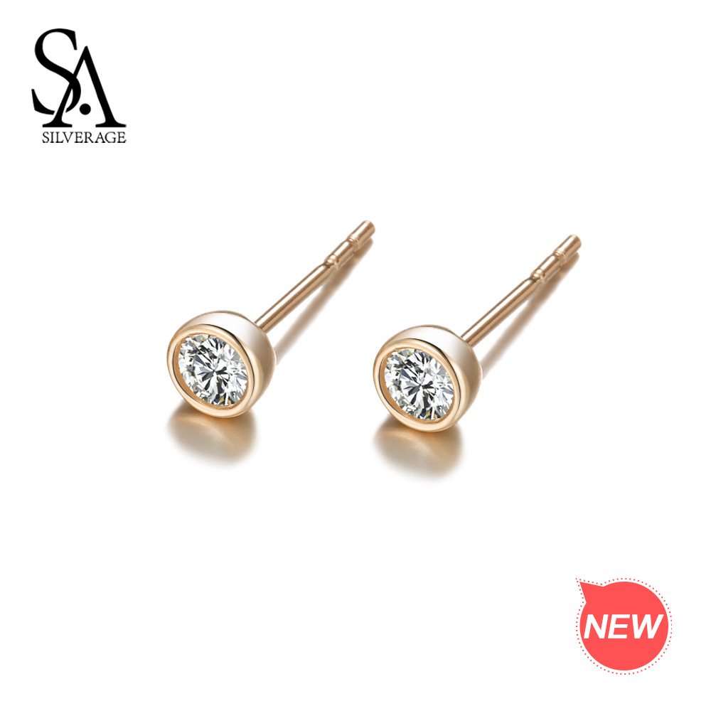 цена на SA SILVERAGE 9K Yellow Gold Stud Earrings for Women AAA Zirconia Earrings For Women Fine Jewelry Gemstone Earrings Jewelry