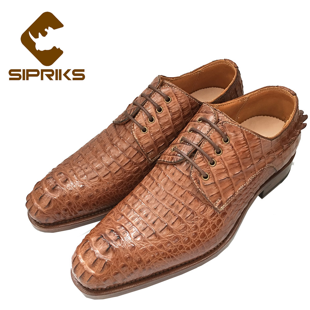 SIPRIKS Mens Alligator Skin Shoes Male Croscodile Dress Shoes Goodyear  Welted Shoes Italian Custom Boss Black 7c2f0734d77d