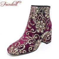 FACNDINLL Autumn Winter Shoes Woman Ankle Boots Chic Embroider Bling Side Zip High Heels Woman Boots