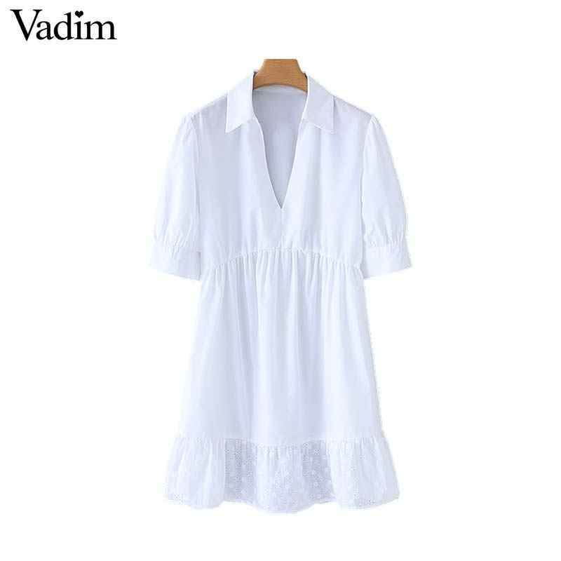 Vadim women white V neck mini dress embroidery hollow out half sleeve elegant female casual office wear dresses QB699