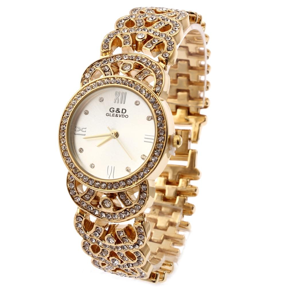 Relogio Feminino G & D Gold Әйелдер кварц Қол сағаты Аналогтық баспайтын болат Сән Lady's Luxury Брелок Білезік Watch Reloj Mujer