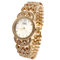 G D Women Gold Stainless Steel Band Fashion Watch Women S Rhinestone Single Dial Quartz Analog