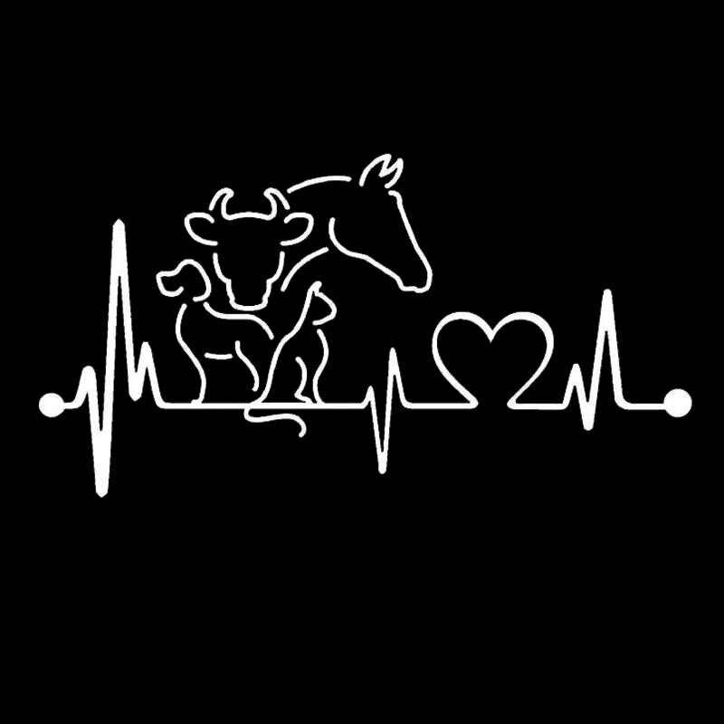20*10.6 センチメートル犬猫馬牛ハートビートライフラインモニタークリエイティブおかしい動物車のステッカー黒/シルバー C6-1134