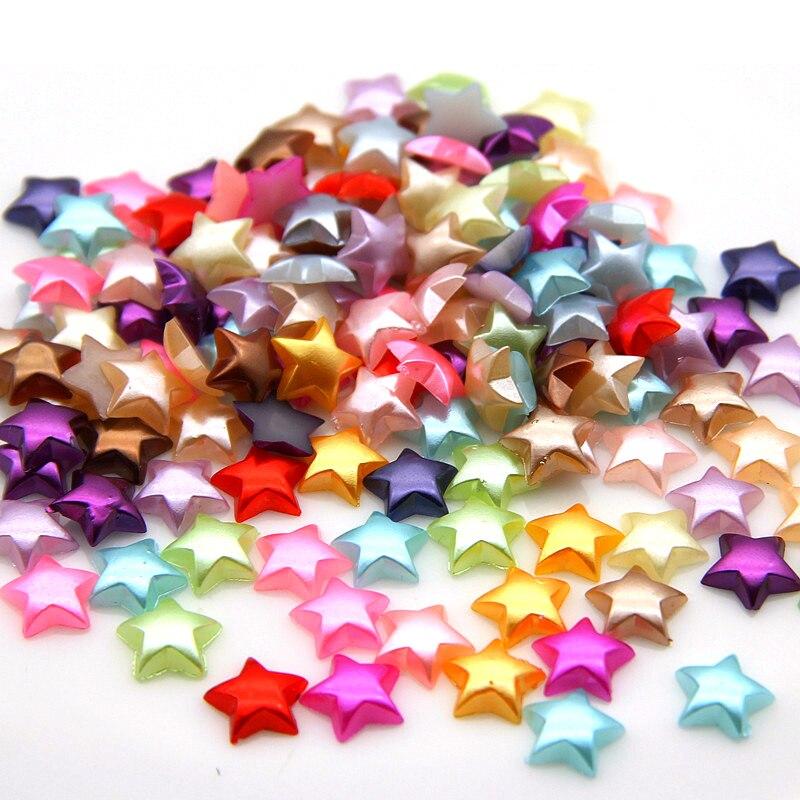 200Pcs/Lot 10mm Colorful Handmade Half Pearl Acrylic Star Beads For Diy Making Wedding Arts Crafts Apparel Sewing Garment Beads