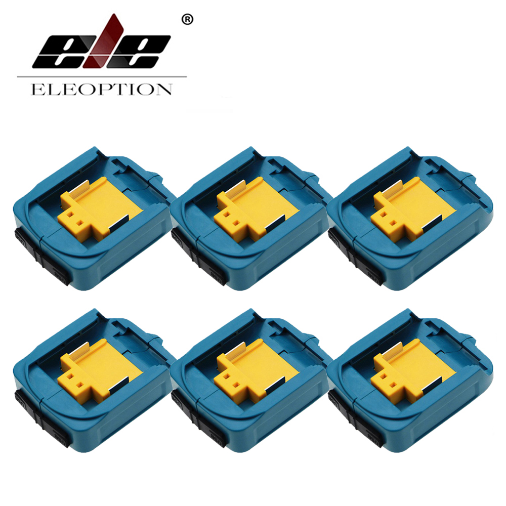 ELEOPTION 6PCS USB Power Charger Adapter Converter And Devices Charger Compatible For Makita <font><b>18V</b></font> 14.4V Lithium-Ion Battery image