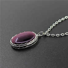 Oval Transparent Purple Opal Jewelry Set Necklace Earrings Ring Antique Silver Plated Stainless Steel Chain Fashion Jewelry