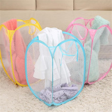 High Quality Nylon mesh Foldable Pop Up Washing Clothes Laundry Basket Bag Hamper Mesh Clothing& waedrobe Storage feb20