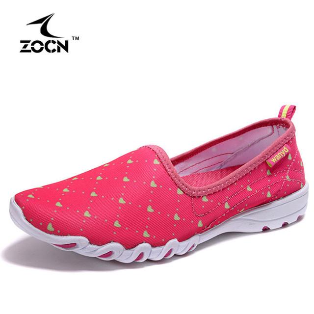 ZOCN 2016 Patrón En Forma de Corazón Lindo de la Mujer Zapatos de las mujeres Pisos Decoración Transpirable Suave Y Mocasines Cómodos Zapatos de Mujer
