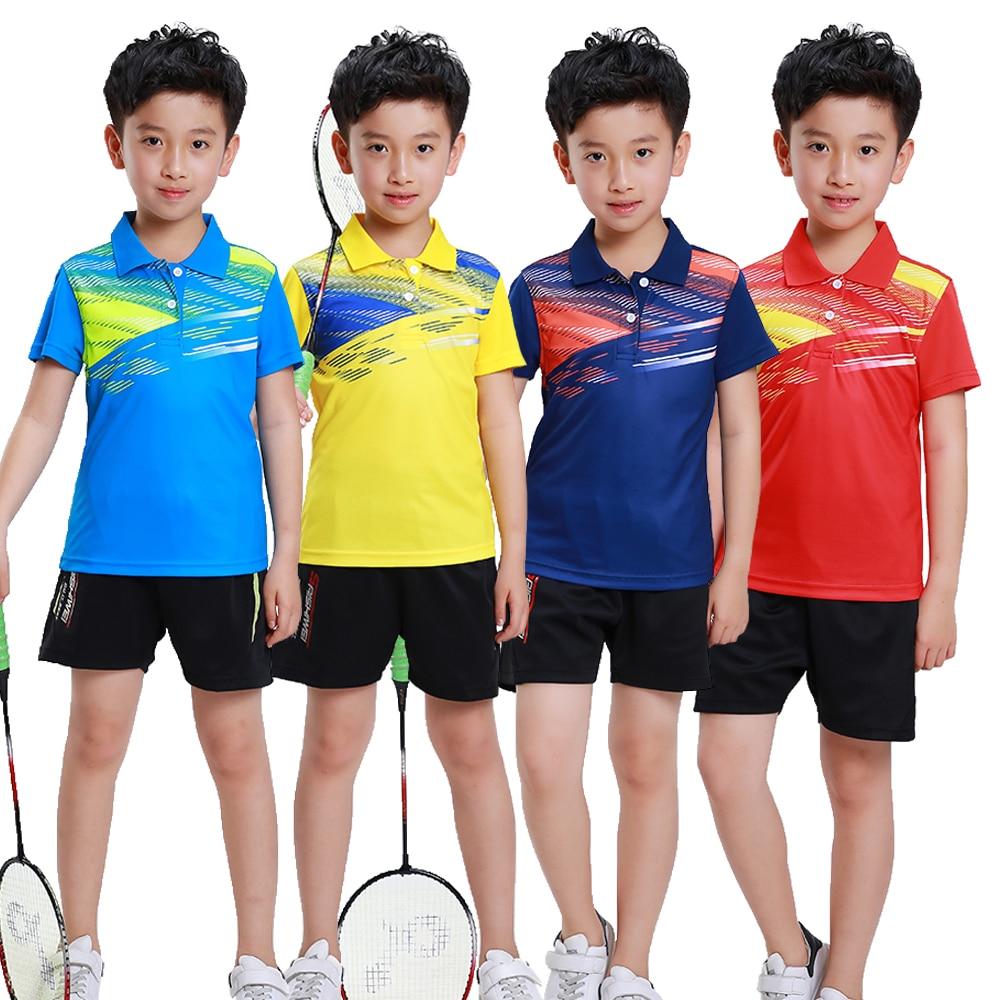 Roupas de Poliéster Camisas de Tênis Adsmoney Crianças Badminton Camisa Jersey Curto-de Mangas Compridas Shorts Grandes Sportswear Respirável