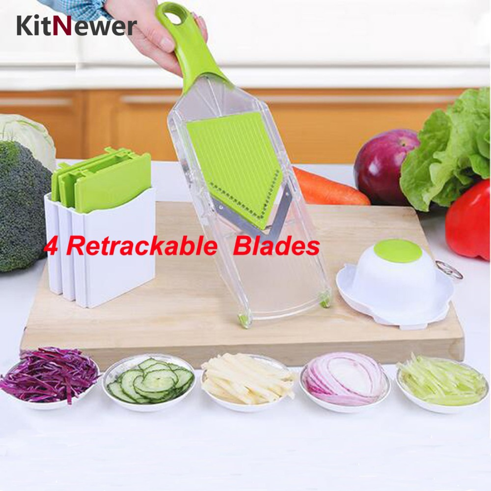 Mandoline Slicer Vegetables Cutter with 4 Stainless Steel Blade Carrot Grater Onion Dicer Slicer Kitchen Accessories