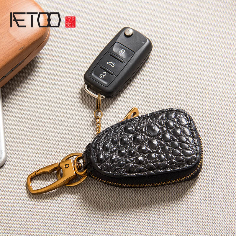 AETOO Crocodile-printed car key bag, universal leather mens handmade retro personality set