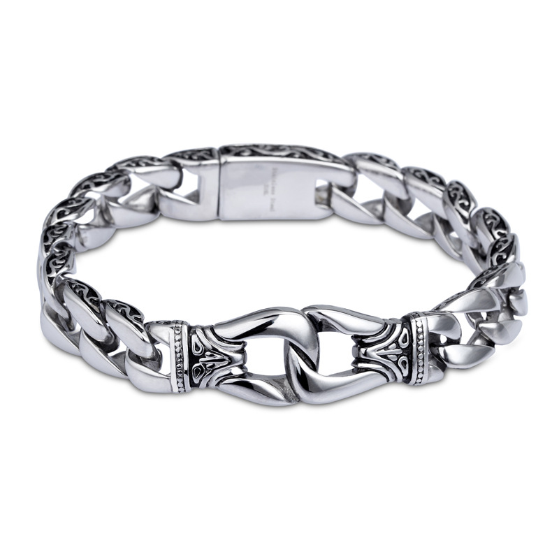 Fashion Cool Men's Silver Toggle Thick Chain Bracelet Stainless Steel Link Retro Silver Snake Chain Bracelet Jewelry For A Gift cool design multi layed chain bracelet for women