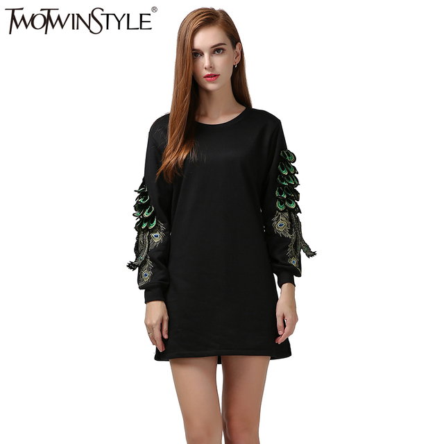 [TWOTWINSTYLE] 2017 autumn winter peacock feathers embroidery sweatshirt dress women long sleeves new clothing black