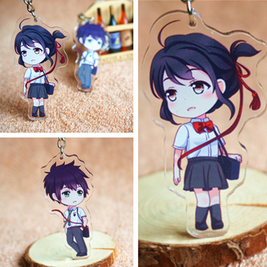 1 Pcs Japan Anime keychain your name Cartoon character Fashion couple Acrylic keychain Boy Girl Gift