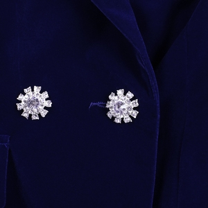 Image 5 - Ocstrade conjuntos de verão para as mulheres 2020 novo azul marinho com decote em v manga longa sexy 2 peça conjunto roupas alta qualidade conjunto duas peças terno