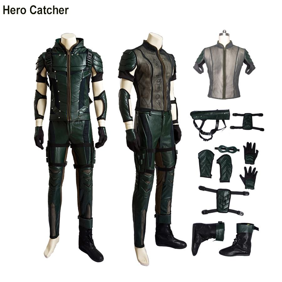 Hero Catcher High Quality Upgraded Hero Arrow Cosplay Costume Set Oliver Cosplay Costume Set Arrow Season 4 Oliver Costume