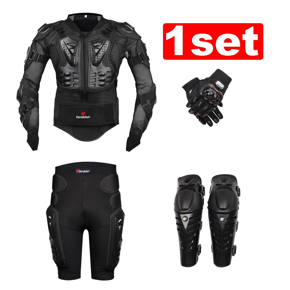 Prix pour Nouveau moto motocross racing moto body armor veste + engrenages de protection pantalon court + de protection moto genou pad + gants