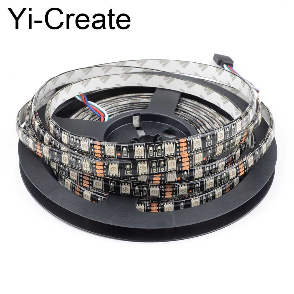 Outdoor 12 Volt 60leds Meter Led Strip Smd 5050 Rgb: Aliexpress.com : Buy SMD5050 RGB Led Strip Light 5M Black
