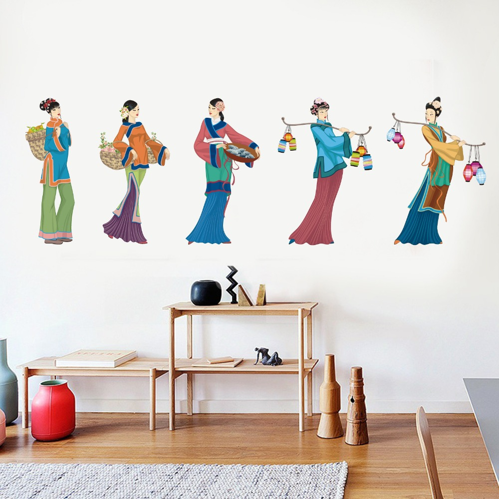 Chinese classical ethnic style beautiful wall stickers home living room bedroom character for Beautiful wall stickers for living room