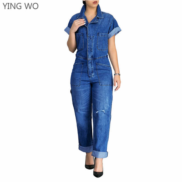 771c7feaaa1 Online Shop Blue Washed Denim Bleached Jumpsuits Plus Size Short Sleeve  Front Buttons Down Ripped Full-length Woman Denim Jumpsuits Oversize