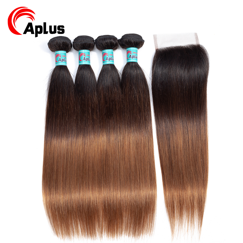 Aplus Hair Ombre Straight Human Hair Bundles With Closure T1B/4/30 Colored Brazilian Hair Weave 4 Bundles With Closure Non Remy