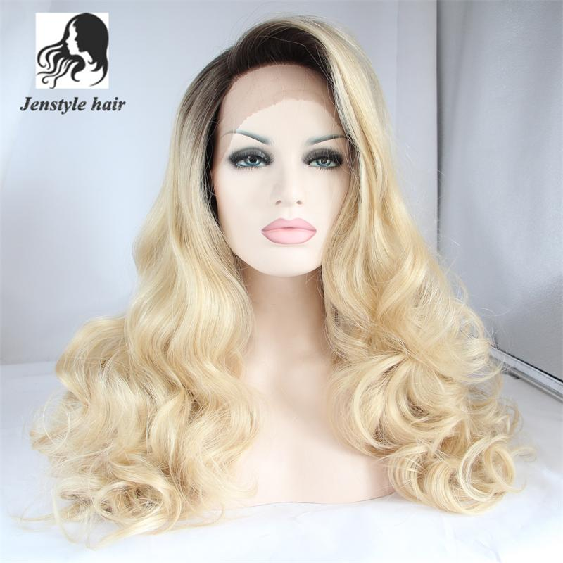 Fashion Long Bodywave Blonde Synthetic Lace Front Wig Glueless Ombre Dark root Blonde Heat Resistant Hair Women Wigs