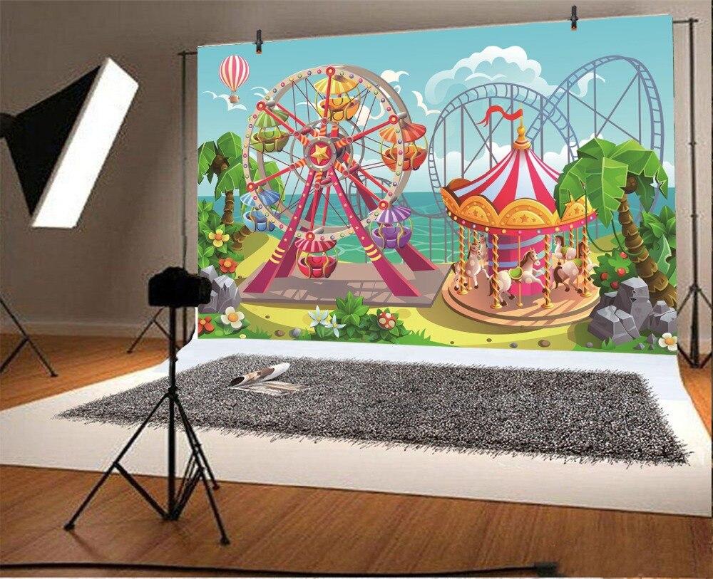 Laeacco Vinyl Backdrops Baby Cartoon Amusement Funfair Carousel Park Portrait Photographic Backgrounds Photocall Photo Studio Leather Bag