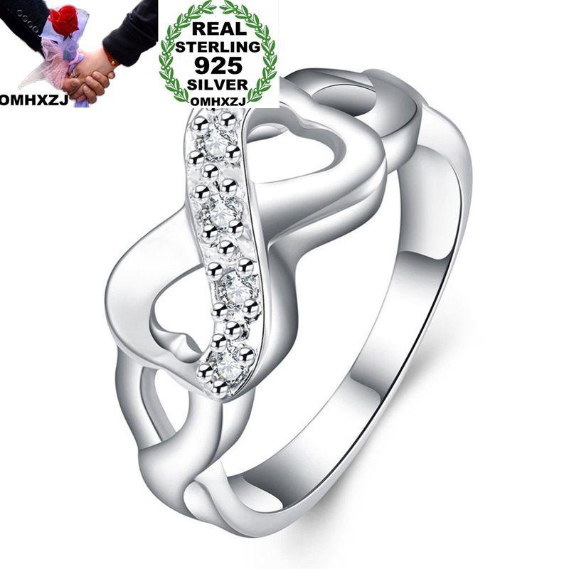 OMHXZJ Wholesale European Fashion Woman Man Party Wedding Gift White Lucky 8 AAA Zircon 925 Sterling Silver Ring RR154