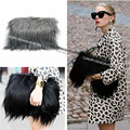 Luxury Over Size Faux Fur bag Fold Over long hair Clutch Women ladies Large handbag Designer Runway style