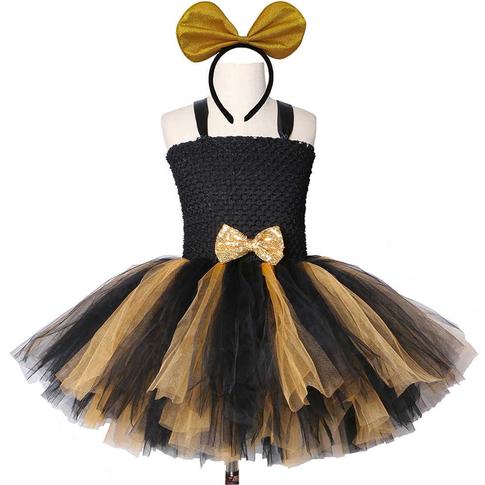 Schwarz Gold Lol Tutu Kleid Mädchen Kinder Prinzessin Tutu Kleider