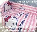 Promoção! 6 / 7 PCS olá Kitty algodão capa de edredão colcha de berço cama conjunto berço cama dos desenhos animados, 120 * 60 / 120 * 70 cm